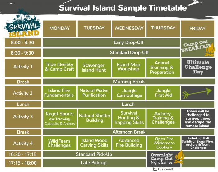 Survival Island Timetable