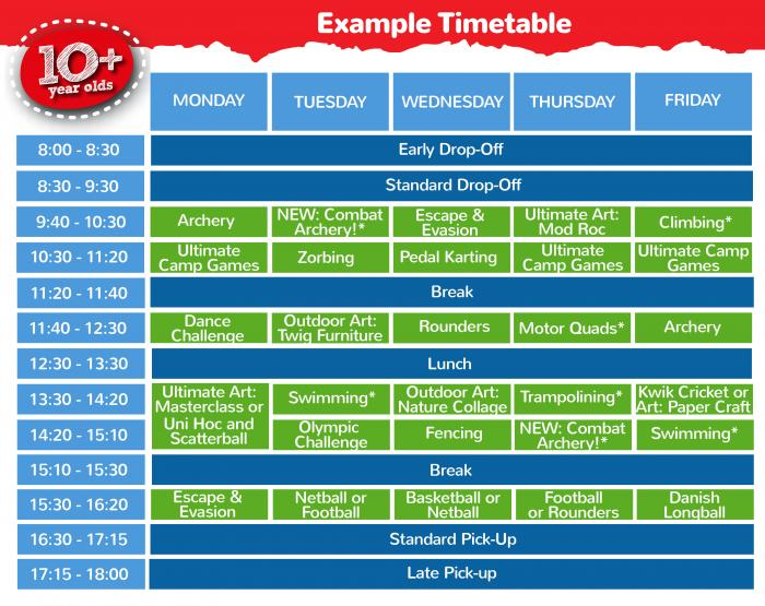 10 + Timetable