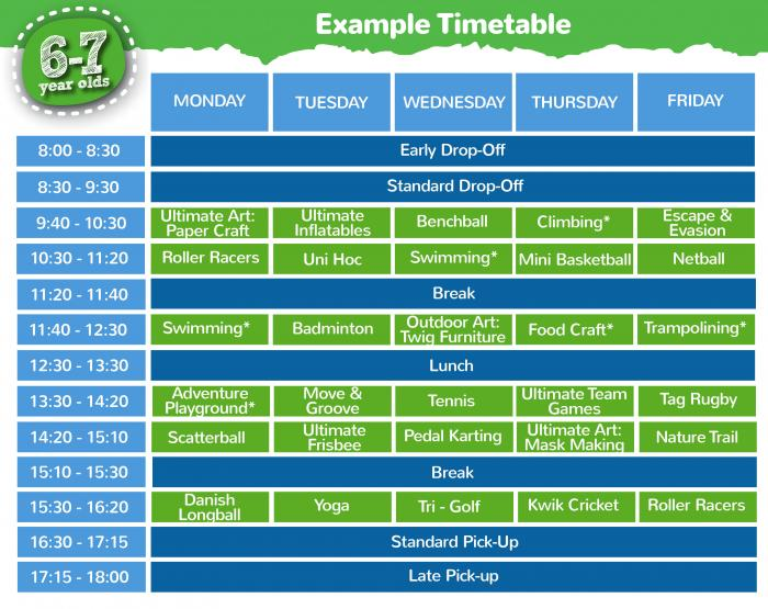 6 - 7 years timetable
