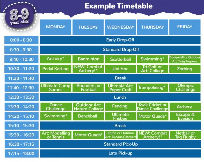 8 - 9 years timetable