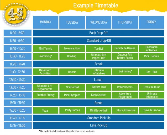 4-5 Timetable for School Holiday Day Camps
