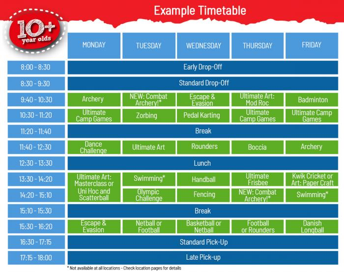 10 + Timetable for School Holiday Day Camps